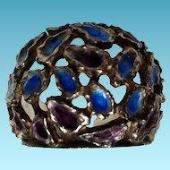 Spanish Silver Dome Enamel Ring