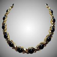 St John Gold Collar Necklace Black Enamel