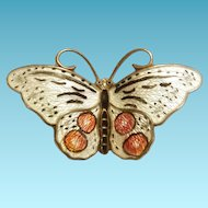 Hroar Prydz Norway Butterfly Silver and Enamel Red Circles White Enamel 925s