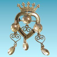 Finn Jensen Norway Sterling Heart Solje Brooch Tiara Crown