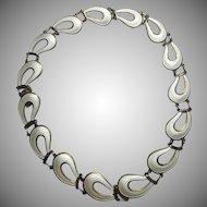 John baalerud Norway White Enamel and Sterling Necklace 925S Modern Scandinavian Jewelry