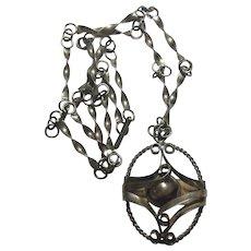 Orno Polish Silver Necklace 1950s 1960s Modern Silver