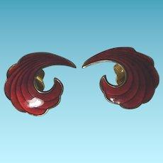 Norway Sterling Red Enamel Earrings A SCH