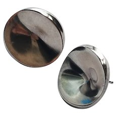 Georg Jensen Sterling Silver Earrings Concave Modern Pierced Earring