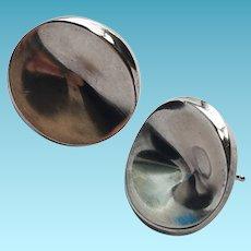Georg Jensen Sterling Silver Earrings Concave Modern Pierced Earring