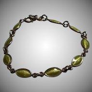 Volmer Bahner Green Enamel Bracelet Sterling Silver Denmark