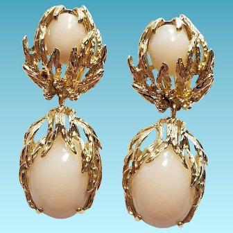14k Angel Skin Coral Dangle Earrings 1950s