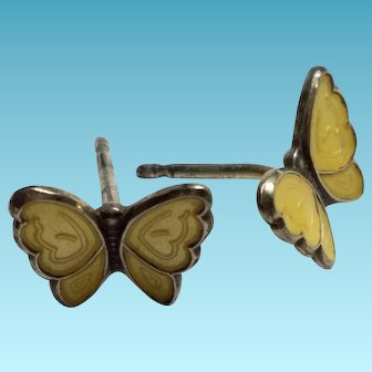 Yellow Enamel Butterfly Earrings 925S Sterling Silver OPRO Produkter Earrings