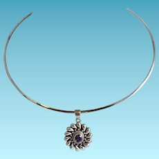 Mexican Silver Necklace with Amethyst Pendant