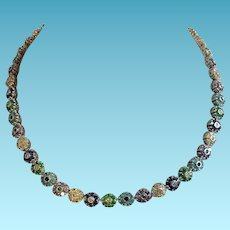 Fabulous Multicolored Glass Flower Necklace