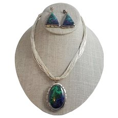 Gorgeous Blue Green Azurite Malachite Sterling Silver Necklace Set