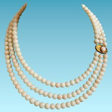 Victorian Triple Strand Coral Necklace Angel Skin Coral with Large 14k Clasp