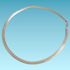 Italian Sterling Silver Omega Chain Necklace Domed Flexible Collar Necklace