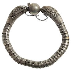 Chinese Dragon Bracelet Coin Silver