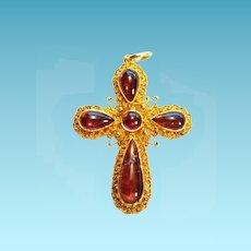Victorian Garnet Filigree Gold Cross