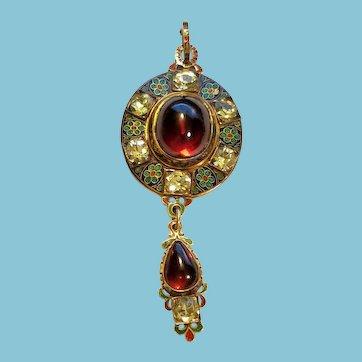18k Victorian Garnet Pendant Enamel Renaissance Revival Holbeinesque
