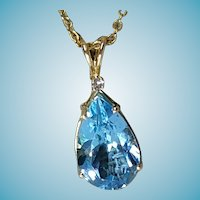 Large 7.43CT 14k Blue Topaz Pendant with Small Diamond