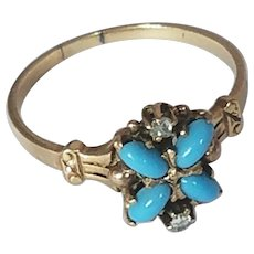 12k Persian Turquoise and Diamond Victorian Ring