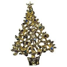 Unsigned ART Christmas Tree Brooch Xmas Pin
