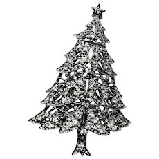 Christmas Tree Brooch Rhodium Plated Clear Crystal