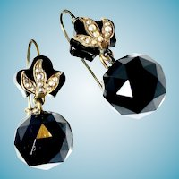 Victorian Jet Earrings Faceted Seed Pearls Mourning Jewelry
