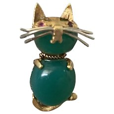 18k Cat Brooch Ruby Eyes Italy Chrysoprase