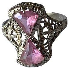 10K Art Deco Pink Glass Filigree Ring Sz 6