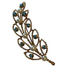 14k Turquoise and Pearl Leaf Brooch Pin