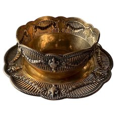 Sterling Silver Gold Gilt Presentation Bowl & Plate 1913 C.S Harris & Sons London