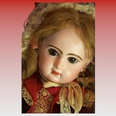 JUMEAU 19 inch Stunning Closed Mouth Tete Jumeau Antique Doll In Couture Costume!