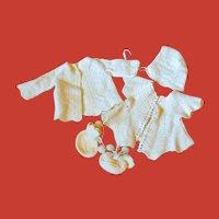Vintage Knit Wool Newborn Set Top, Jacket, bonnet & Booties