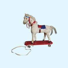 Vintage West Germany Horse Pull Toy