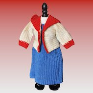 Vintage knit sailor outfit for doll