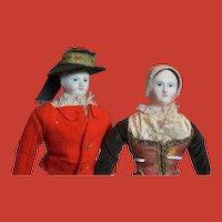 Stein Am Rhein's Rare antique French 1840s pair paper mache' dolls all original