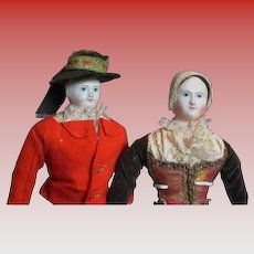 Stein Am Rhein's Rare antique French 1840s pair paper mache' dolls all original