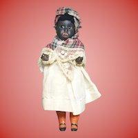 "Black Paper Mache' 5 1/2"" Doll marked 34"