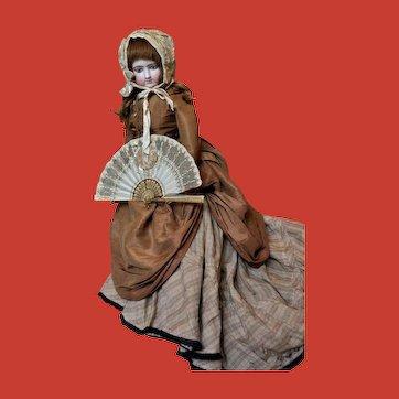 Gilt Paillettes folding fan mid 19th century