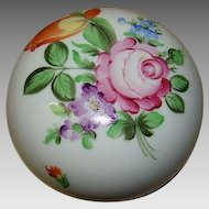 Herend Round Porceian Flower Decorated Trinket Box with Lid - #6032