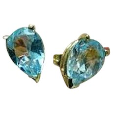 Blue Topaz 14K Yellow Gold Earrings - Pierced Ears