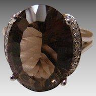 10k 8 Carat Smokey Brown Topaz Quartz And Diamond White Gold Ring