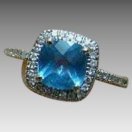 10K Blue Topaz And Halo Diamond Ring - White Gold - Size 7