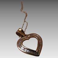 14K YG .50 Carat Baguette Diamond Heart Yellow Gold Pendant Necklace