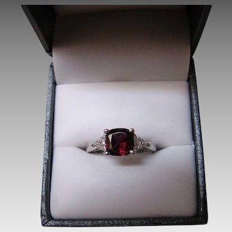 Natural Rhodolite Garnet And Diamond Ring - 14k White Gold - Size 7.75