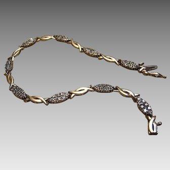 10K Champagne Diamond Tennis Bracelet - Solid Yellow Gold - 6 Grams