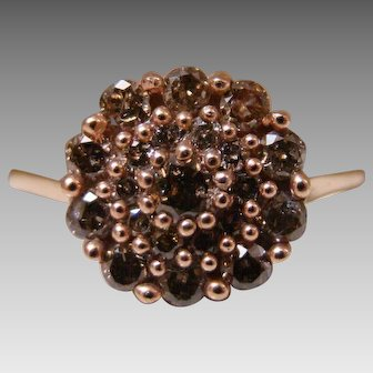 Fancy Chocolate Brown Color Diamond Cluster Ring - 10K 1.5 Carats