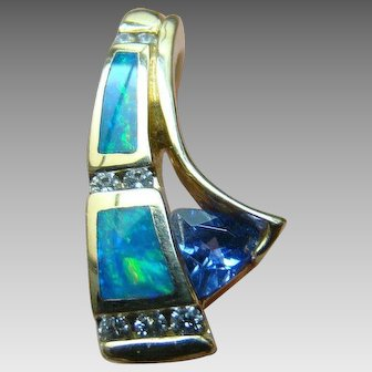 Diamond, Black Opal & Tanzanite Omega Pendant Slide - 14K Yellow Gold