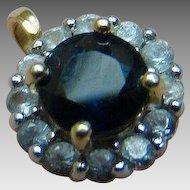 14K Sapphire Halo Diamond Pendant - Yellow Gold