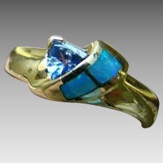 14K Opal Inlay And Tanzanite - Yellow Gold Ring - Size 6.75