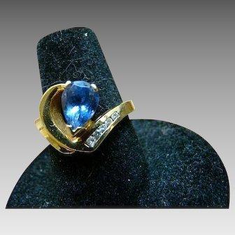 1.5 Carat Tanzanite And Diamond Ring 14K YG