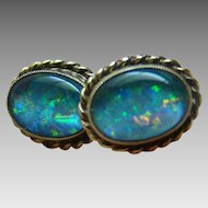 Vintage Opal Yellow Gold Earrings - 10KT